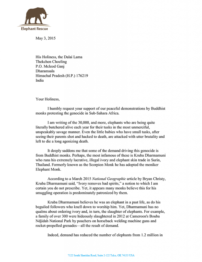 Letter to the Dalai Lama pg1